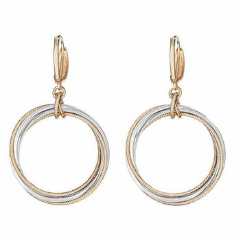 14K Italian Gold Two Tone Earrings Circle Design