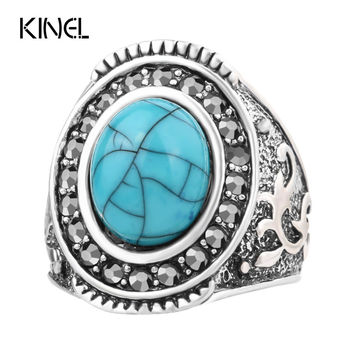 Turquoise Rings For Women Silver Plated Bohemian Oval Inlay Crystal Luxury