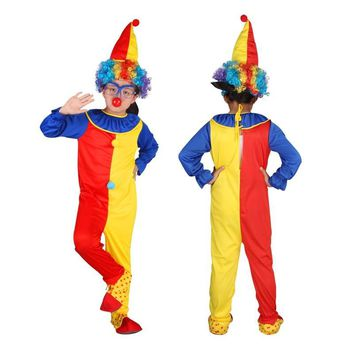 Cool Children Baby Clown Jumpsuits & Rompers+Hat+Nose Halloween Carnival Clown Circus Cosplay Costumes Performance Clothing PartyAT_93_12
