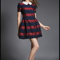 Printed Peter Pan Collar Short Sleeve Pleated A-Line MIni Dress