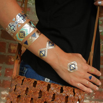 Aztec Jewelry, Turquoise Bracelet, Tribal Inspired Flash Tattoos Metallic Tattoos
