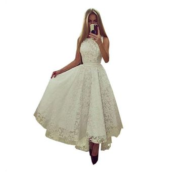 Sexy Women's Summer Sleeveless Irregular Lace Dress Formal Party Long Maxi Dress Wedding Bridemaid Gown Dress