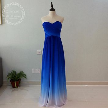 2017 Summer Beach Ombre Blue Bridesmaid Dresses Sweetheart Pleat Long Chiffon Wedding Party Gowns Maid of Honor Gowns Cheap
