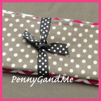 Personalized Pink Chevron Burp Cloths, Grey Polka Dot Burp Cloths, Flannel Burp Cloths Set of 2 or 3