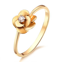 Luxury Flower Style Real 18K Karat 750 Solid Yellow Gold Diamond Wedding Rings For Women Engagement 0.05CT VS H Free Engraving