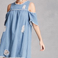Open-Shoulder Denim Dress