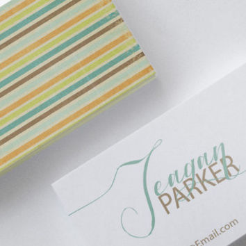 Vintage Beach Stripes Coastal Retro Geometric Double Sided Business Calling Card Template DIY PDF JPEG Handwritten Calligraphy Font
