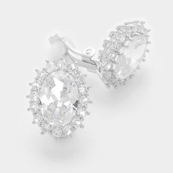 White Gold Plating Oval Crystal Cz Clip On Earrings 436fd6c70
