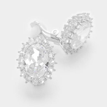 White Gold Plating Oval Crystal Cz Clip On Earrings 48eb17f83