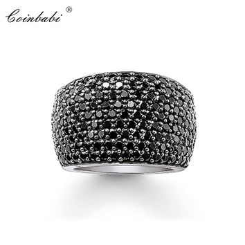 Cocktail Rings Black CZ Pave Wide 925 Sterling Silver Gift For Women & Men Thomas style Rebel 2018 Ring TS Fashion Jewelry