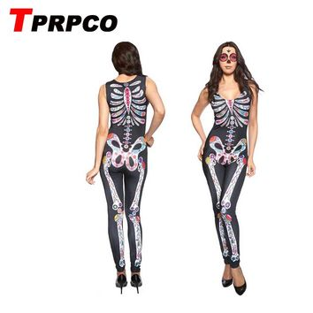 Women clothing Sugar Skull print sleeveless Halloween costume fancy ball party playsuit jumpsuit