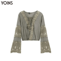 YOINS Women 2016 Summer Vintage Lace Crochet Splice BOHO Blouse Crop Top Sexy Bandage Patchwork Hollow Flare Sleeve Shirt