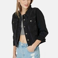 Women's Topshop Moto 'Tilda' Washed Denim Jacket ,