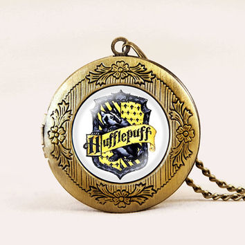 Harry Potter necklace, inspired locket necklace jewelry, Hufflepuff necklace, vintage Pendant photo locket necklace, 20-60