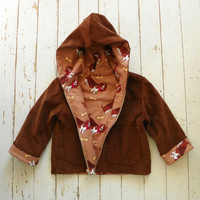 Basset Hound Dog  Brown Corduroy Zip Up Hooded Jacket--Size 3T