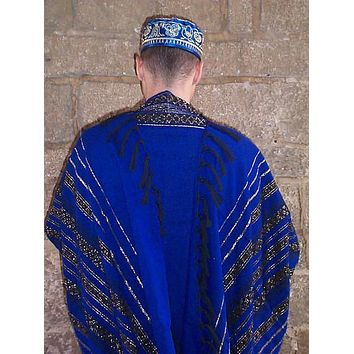 Wool Tallit - Blue with Black and Gold Stripes
