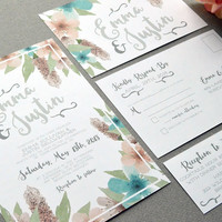 Floral Wedding Invitations, Watercolor Wedding Invitation Suite, Teal Blush and Gray Wedding Pocket Invite Set Rustic Wedding Invites Flower