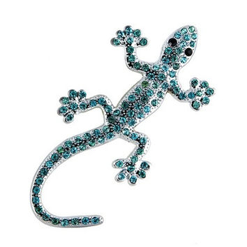 Crystal Gecko Shaped Car Decal Sticker (Silver & Blue)