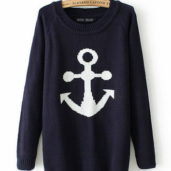 Navy Blue Anchor Pattern Print Long Sleeve Hedging Knit Sweater
