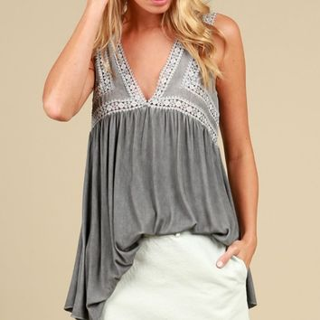 Crochet Trimmed V-neck Tank