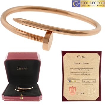 MINT 2016 Cartier Juste un Clou Nail Size 16 18K Rose Pink Gold Bangle Bracelet
