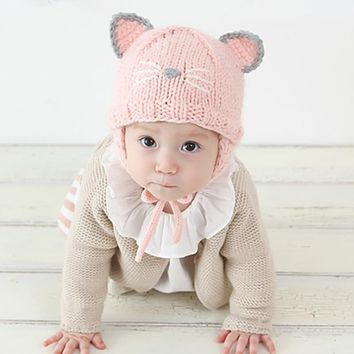 Baby Girls Hat Kids Winter Warm Hats Toddler Kids Cartoon Cat Ear Knitted Beanie Cap Newborn Photography Props