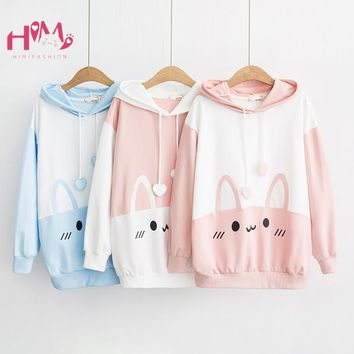 Cute Rabbit Women Hoodie Kawaii Bunny Ears Graphic Fashion Sweatshirts Japanease Harajuku Girls Lovely Pink Blue Pullover