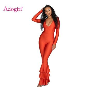 Adogirl Cascading Ruffle Women Flare Jumpsuits Sexy V Neck Long Sleeve Skinny Romper Casual Overalls Female Fashion Outfits