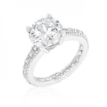 Micro-pave Cubic Zirconia Engagement Ring (size: 10) (pack of 1 ea)