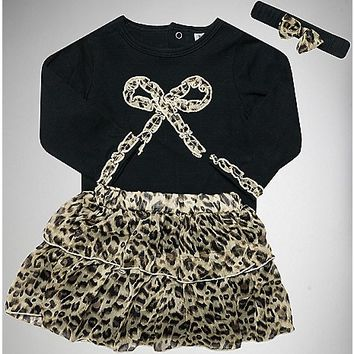 Bow Leopard Baby Dress 3 Piece - Spencer's