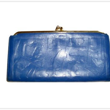 Vintage BLUE Tooled Leather Art Deco Large Kisslock WALLET by TILLEY