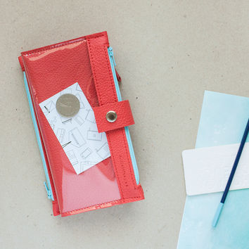 Red Maxi Wallet With Transparent Window for Everything