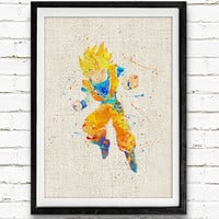 Super Saiyan Goku Watercolor Print, Dragon Ball Baby Nursery Room Art, Minimalist Home Decor Not Framed, Buy 2 Get 1 Free!