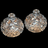 Lot of 2 Vintage Perfume Bottles, Clear Cut Glass, Crystal Vanity, NO Stoppers, NO Caps, Art Deco, Molded Glass