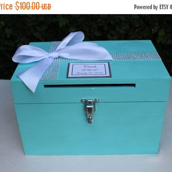 ON SALE Aqua Wedding Card box Cardholder /Robin's Egg Blue Wooden Lockable Cardholder Box / Box with Slot / Rustic Wedding Decor