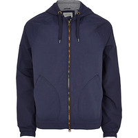 River Island MensNavy blue hooded bomber jacket