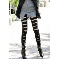 Slim Fit Punk Style Ripped Black Leggings For Women