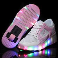 Girls Light Up LED Heelys Roller Skate in heel Tennis Shoes