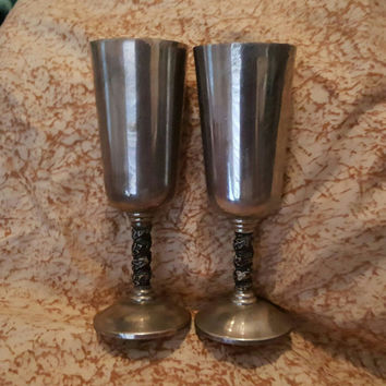 A Set of Two Vintage Roma S.L Madrid Spain Silver-Plate Wine Goblets With Grapevine Motif Stem Made in Spain