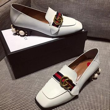 GUCCI Women Fashion Leather Casual Low-Heel Shoes