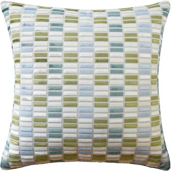 Jubilee Blue and Avocado Decorative Pillow
