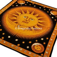 Indian Sun Hippie Hippy Tapestry Wall Hanging Throw Cotton Bed cover Bohemian Bed Decor Bed Spread Ethnic Decorative Art Table Cloth