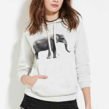 Heathered Elephant Hoodie - Dresses - 2000151474 - Forever 21 EU English
