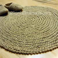 Cottage Rug, Round Area Rug, Handmade, Natural, Jute rug, no.012