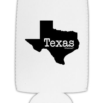 Texas - United States Shape Collapsible Neoprene Tall Can Insulator by TooLoud
