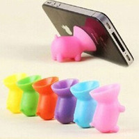 Universal Mobile Phone Stander Cute Pig Shape Convenient Silicone Cell Phone Holder Cartoon Bracket #056
