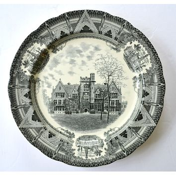 Copeland Spode Black Transferware Charger Plate Stunning Architectural Border Chicago University Ryerson Laboratory