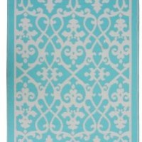 Amazon.com: Fab Habitat 4-Feet by 6-Feet Venice Indoor/Outdoor Rug, Cream and Turquoise: Patio, Lawn & Garden