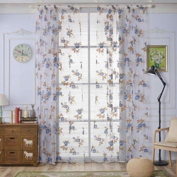 1pc Europe Style Curtain Gingko Leaf Pattern Tulle Curtains Bedroom French Window Blinds Semi-blackout Household Curtains
