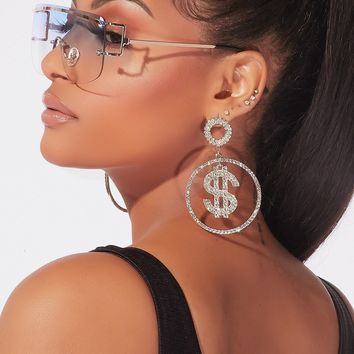 Rhinestone Dolla Hoop Earrings Silver